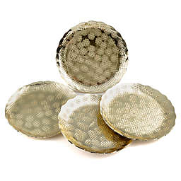 Thirstystone® Hammered Square Coasters in Gold (Set of 4)