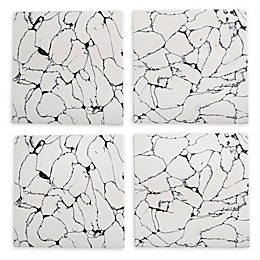 Thirstystone® Resin Square Coasters with Veining in Black (Set of 4)
