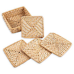 Thirstystone® Rattan Coasters in Brown/Black (Set of 4)