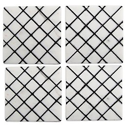 Thirstystone® Trellis Marble Coasters in Black (Set of 4)