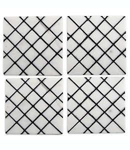Portavasos de azulejos de mármol Thirstystone® en negro, Set de 4