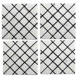 Thirstystone® Trellis Marble Coasters in Black (Set of 4)
