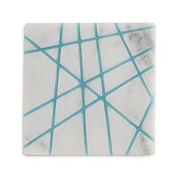 Thirstystone® Resin Inlay Marble Coasters in Blue/White (Set of 4)