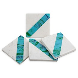 Thirstystone® Diagonal Stripe Marble Coasters in White/Teal (Set of 4)