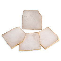 Thirstystone® Gold Edged Quartz Coasters in Pink (Set of 4)