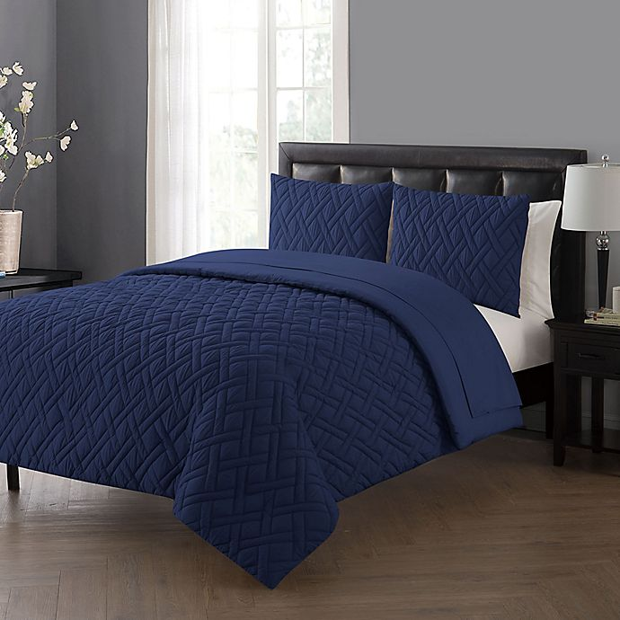 Alternate image 1 for VCNY Home Lattice Queen Comforter Set in Navy