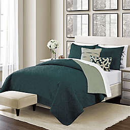 Sunham Home Fashions Camber Reversible Twin Quilt Set in Moss Green
