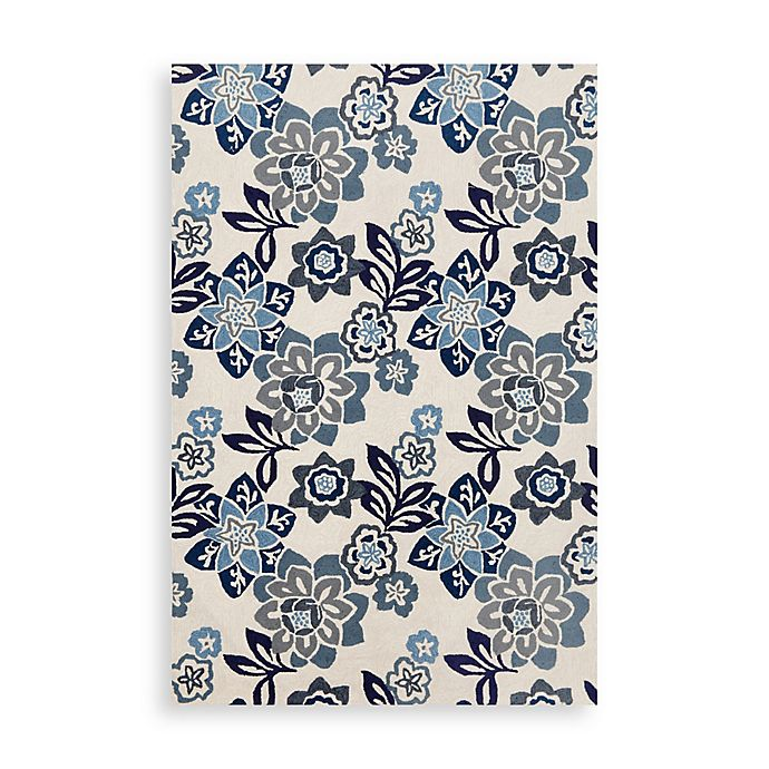 Alternate image 1 for Trans-Ocean Floral 7-Foot 6-Inch x 9-Foot 6-Inch Indoor/Outdoor Rug in Blue