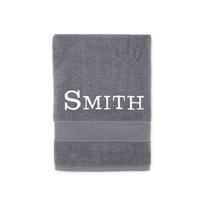 Alternate image 1 for Monogrammed Wamsutta® Classic Turkish Bath Towel in Charcoal