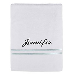 Monogrammed Wamsutta® Classic Turkish Embroidered Bath Sheet in White/Seafoam