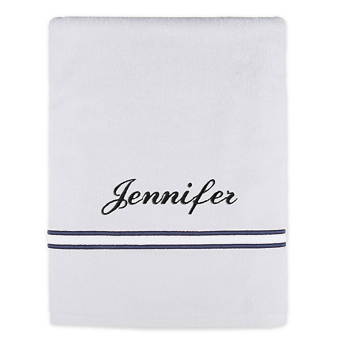 Alternate image 1 for Monogrammed Wamsutta® Classic Turkish Embroidered Bath Sheet in White/Navy