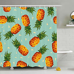 Pineapple Shower Curtain in Green/Orange