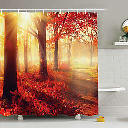 Ambesonne Fall Foliage Shower Curtain in Yellow/Orange