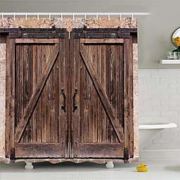 Ambesonne Rustic Door Shower Curtain in Beige/Brown