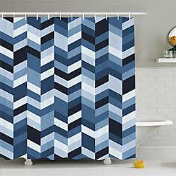 Zigzag Twisty Lines Shower Curtain in Blue/Navy