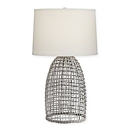 Kathy Ireland Oahu Table Lamp in Cool Grey with CFL Bulb and Linen Shade