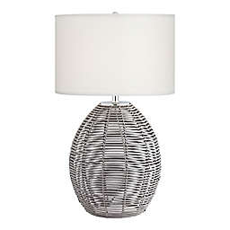 Kathy Ireland® Wakiki Table Lamp in Cool Grey with White Drum Shade