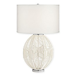 Kathy Ireland® North Shore Table Lamp in Cool Grey with White Drum Shade