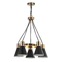 Jonathan Y Markle 5-Light Pendant Light in Black/Brass