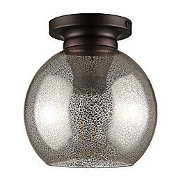 Jonathan Y Atlas Flush-Mount Ceiling Fixture in Silver/Mercury with Glass Shade