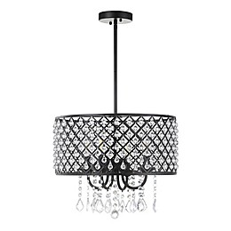 Jonathan Y Gigi 4-Light Adjustable Pendant Light in Black