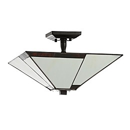 Jonathan Y Julian 2-Light Tiffany-Style Flush-Mount Ceiling Lamp in Ivory/Black with Glass Shade