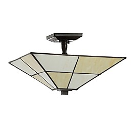 Jonathan Y Julian 2-Light Tiffany-Style Flush-Mount Ceiling Lamp in White/Cream with Glass Shade