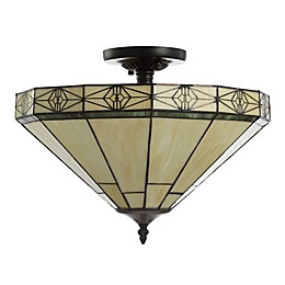 Jonathan Y Jasmine 2-Light Tiffany-Style Flush-Mount Ceiling Lamp in Cream with Glass Shade