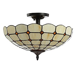 Jonathan Y Jennifer 2-Light Tiffany-Style Flush-Mount Ceiling Lamp in Cream with Glass Shade