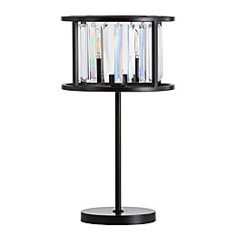 Jonathan Y LED Bevin Table Lamp in Bronze with Linear Crystal Shade