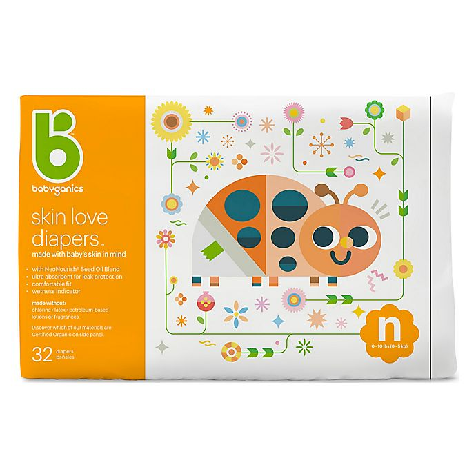 Alternate image 1 for Babyganics® 32-Count Newborn Jumbo Ultra Absorbent Diapers