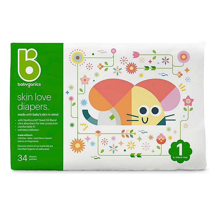 Alternate image 1 for Babyganics® 34-Count Size 1 Jumbo Ultra Absorbent Diapers