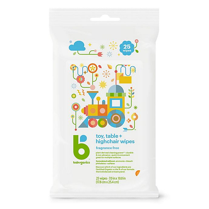Alternate image 1 for Babyganics® 25-Count Toy, Table and Highchair Wipes