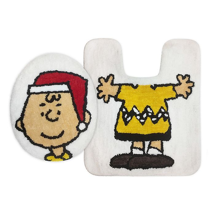 Alternate image 1 for Peanuts™ Holiday Charlie Brown 2-Piece Toilet Cover and Rug Set