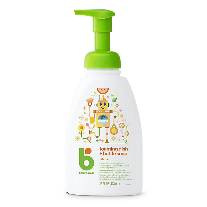 Alternate image 1 for Babyganics® 16 oz. Citrus Foaming Dish & Bottle Soap