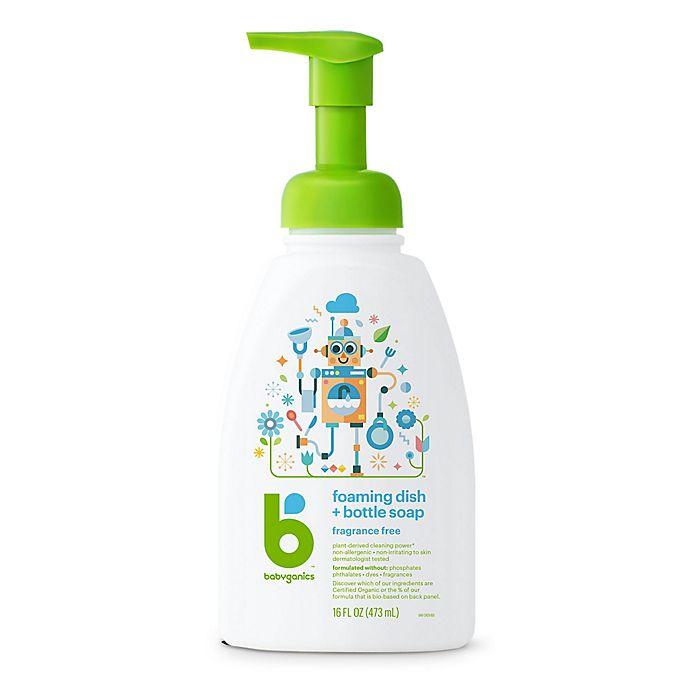 Alternate image 1 for Babyganics® 16 oz. Fragrance-Free Foaming Dish & Bottle Soap