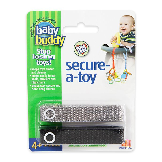 Alternate image 1 for Baby Buddy® 2-Pack Secure-A-Toy in Black/Grey