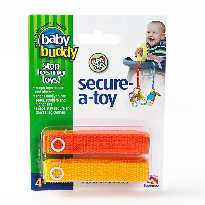 Alternate image 1 for Baby Buddy® 2-Pack Secure-A-Toy in Orange/Gold
