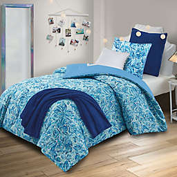 Rebecca 5-Piece Reversible Twin Comforter Set in Blue