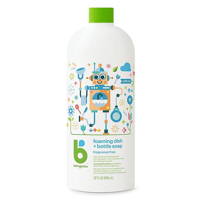 Alternate image 1 for Babyganics® 32 oz. Fragrance-Free Foaming Dish & Bottle Soap Refill