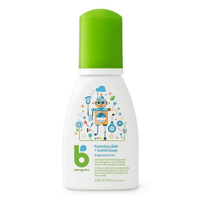 Alternate image 1 for Babyganics® 3.38 oz. Fragrance-Free Foaming Dish & Bottle Soap