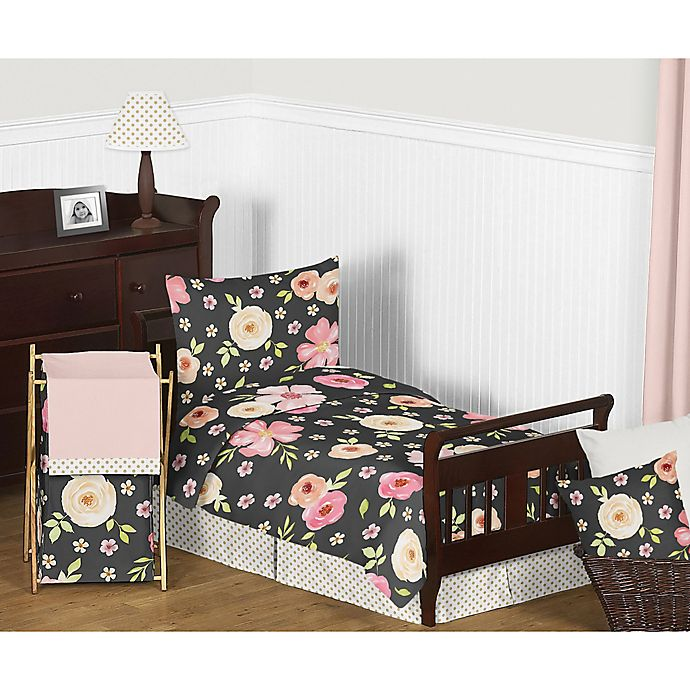 Alternate image 1 for Sweet Jojo Designs Watercolor Floral Bedding Collection in Black/Pink