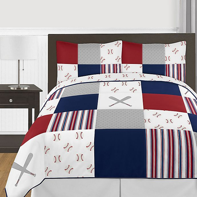 Alternate image 1 for Sweet Jojo Designs® 3-Piece Reversible Baseball Patch Full/Queen Bedding Set in Red/Blue