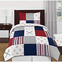 Sweet Jojo Designs® 4-Piece Reversible Baseball Patch Twin Bedding Set in Red/Blue