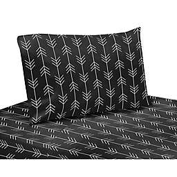 Sweet Jojo Designs® Rustic Patch Arrow Queen Sheet Set in Black/White