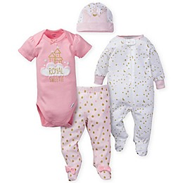 Gerber® 4-Piece Sleep 'n Play, Bodysuit, Pant, and Cap Set in Pink