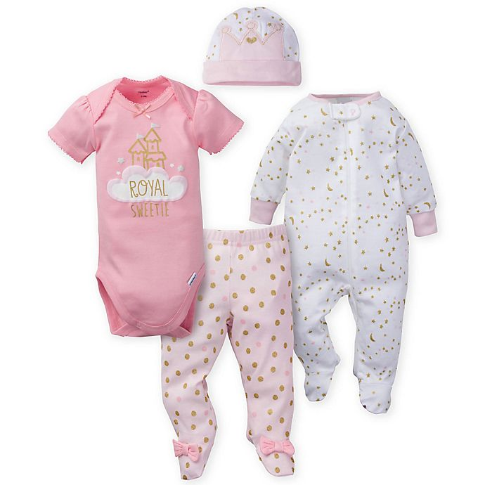 Alternate image 1 for Gerber® Preemie 4-Piece Princess Take Me Home Set in Pink
