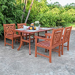 Vifah Malibu 5-Piece Outdoor Dining Set in Cherry
