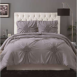 Christian Siriano NY® Georgia Rouched 3-Piece King Duvet Set in Grey