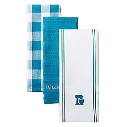 KitchenAid® Mixer Kitchen Towels in Teal (Set of 3)